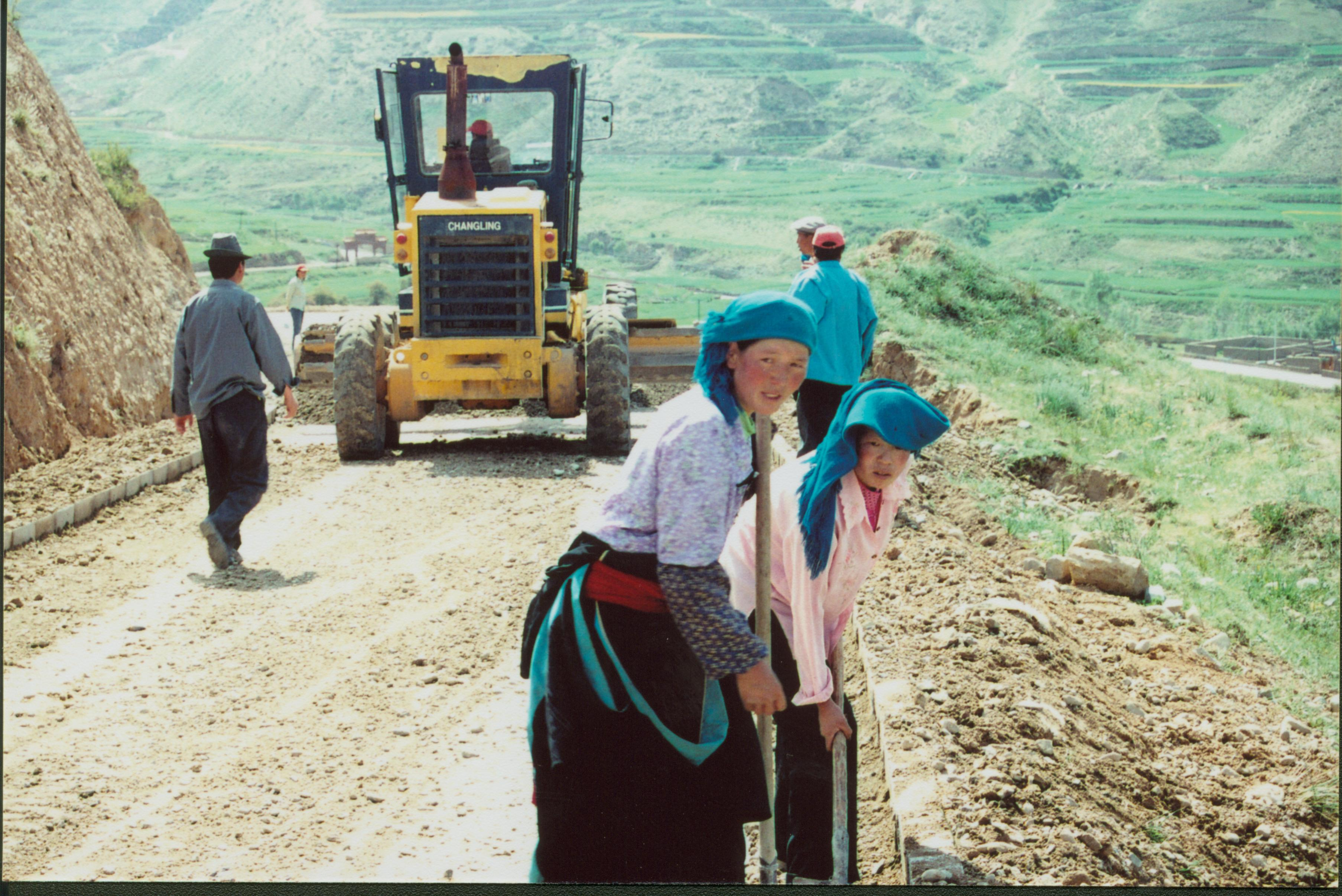 Tibetan women working on a Chinese construction site in Qinghai